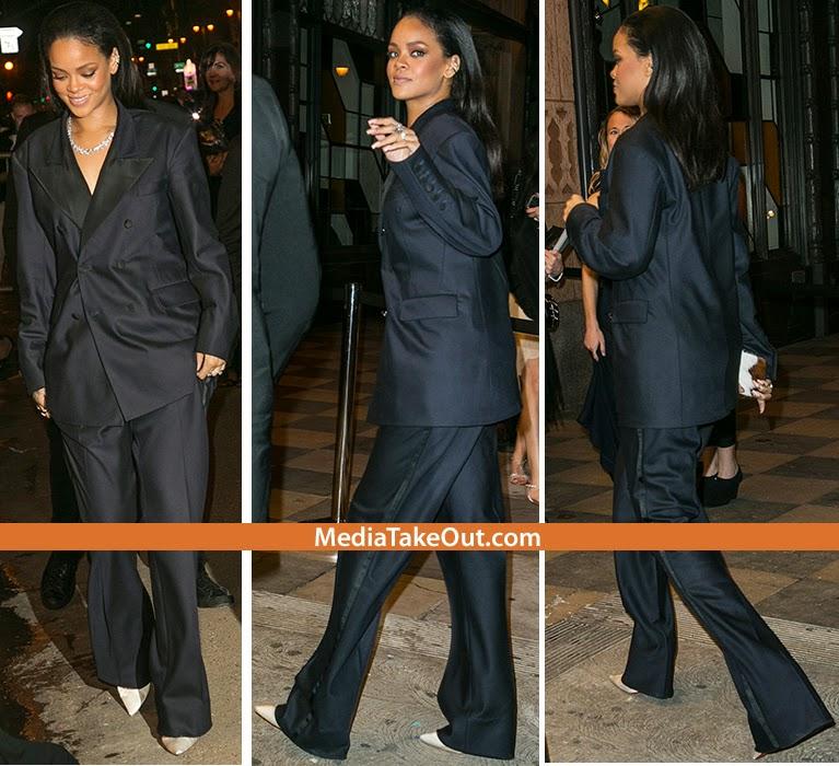 Rihanna steps out in leonardo dicaprio s tuxedo fresiame